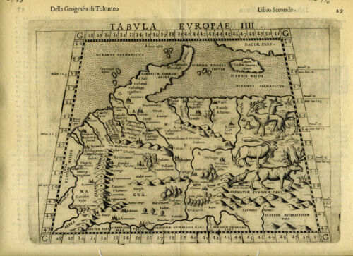 1561 Genuine OLD Antique map of the German Empire. Denmark. by Ruscelli