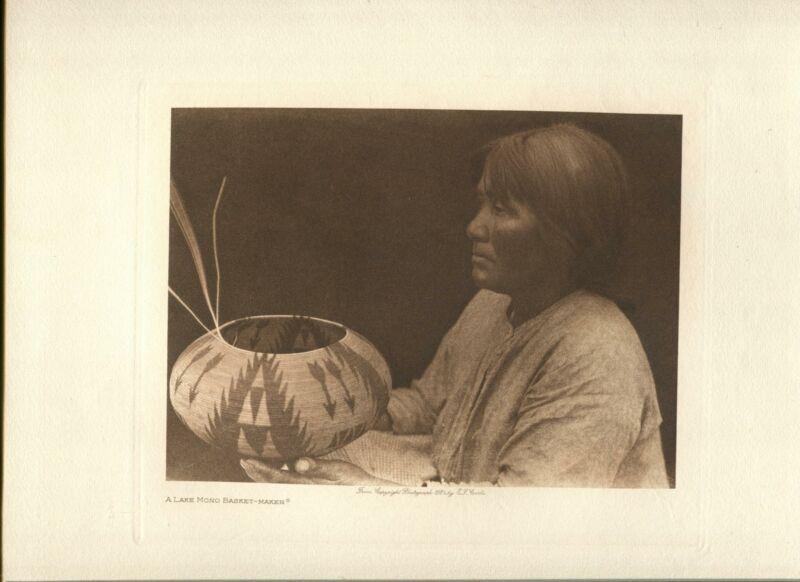 1924 Original Photogravure | Lake Mono Basket Maker | Curtis | 5 1/2 x 7 1/2