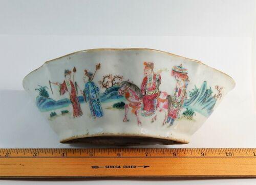 Antique Chinese Famille Rose Porcelain Lobed Bat Bowl Qing Dynasty Tongzhi Mark