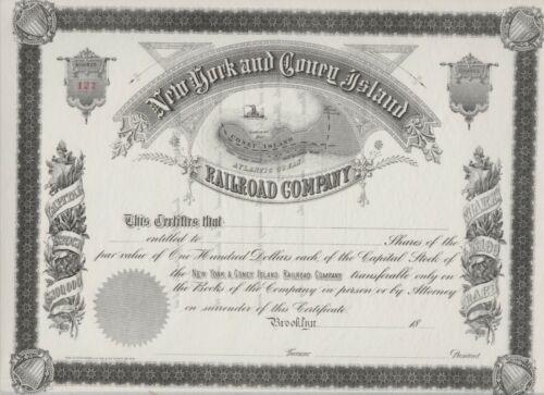 New York & Coney Island Railroad Company Stock Certificate Brooklyn