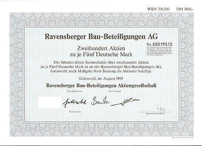 Ravensberger Bau AG über DM 1000 Grünwald, August 1995