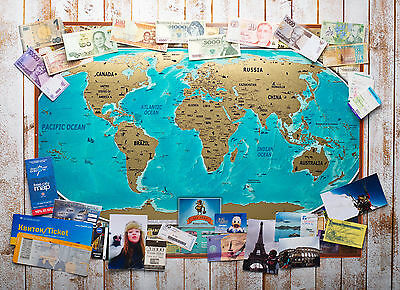 Scratch World Vintage Edition Off Map - Personalized Scratch Off  World Poster
