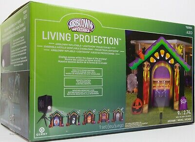 Gemmy 9 ft Halloween Haunted House Living Projection Archway Inflatable NIB