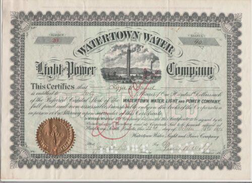 Watertown Water Light & Power Company Stock Certificate South Dakota Preferred