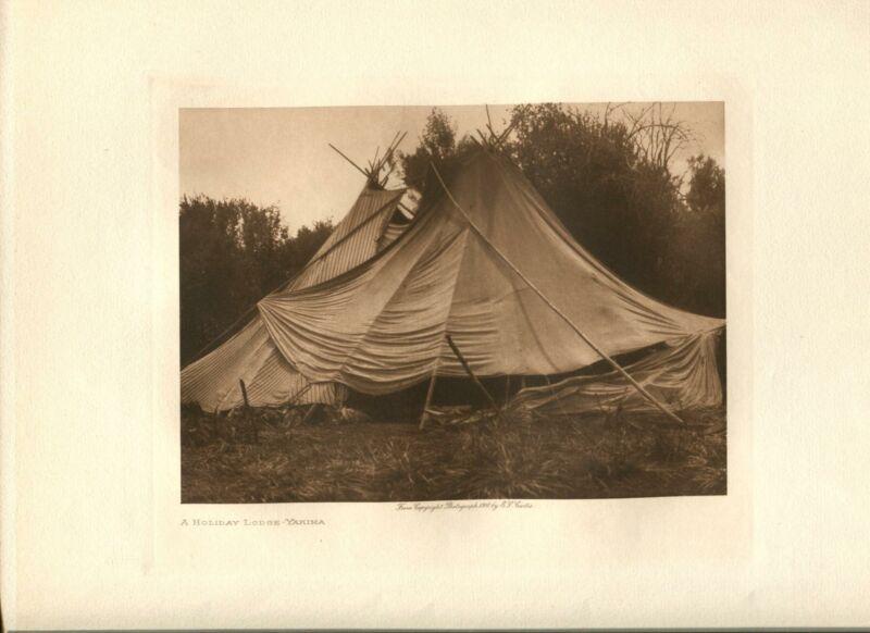 1910 Original Photogravure | Edward Curtis | A Holiday Lodge Yakima