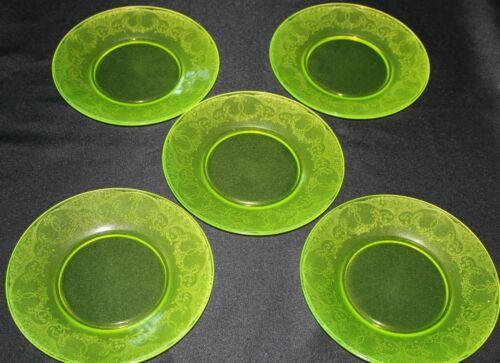 Vintage Glass Antique Set Of Five Vaseline Glass Plates