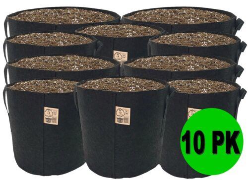 10 Pack TOP GROWER Fabric Pots 1,2,3,5,7,10,15,20,25,30,45,100,150,300 Gallon