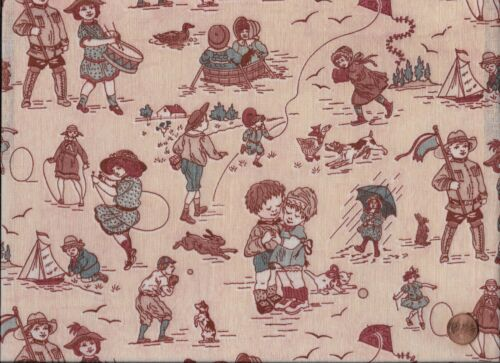 Antique French 1920 Children at Play Fabric
