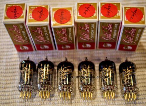GENALEX New  SEXTET SIX Plat. Matched Gold Lion NIB 12AU7 ECC82 B749 Tubes Gold