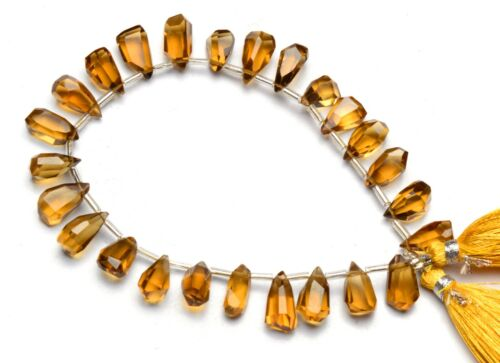 "Natural Gem Honey Quartz Nugget Cut Drop Shape Beads 8"" Jewelry Supplies 96Cts."