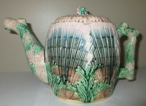 Antique Majolica Teapot Coffee Pot Etruscan Shell & Seaweed Griffin Smith & Hall