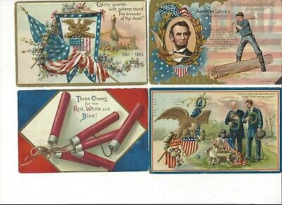 LOT of 8 ANTIQUE EARLY 1900s Postcards      *  U. S. A. PATRIOTIC *    (0729)