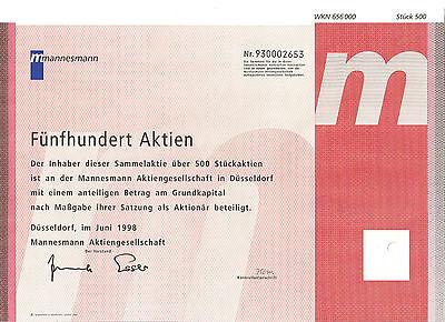 Mannesmann AG Düsseldorf DM Aktie 1998 Handy Mülheim Salzgitter Vodafone NRW