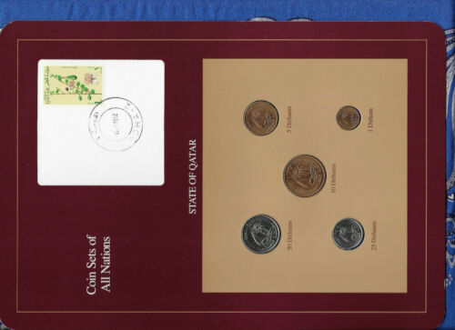 Coin Sets of All Nations Qatar 1973-1990 UNC 50 Dirhams 1990 Flower stamp