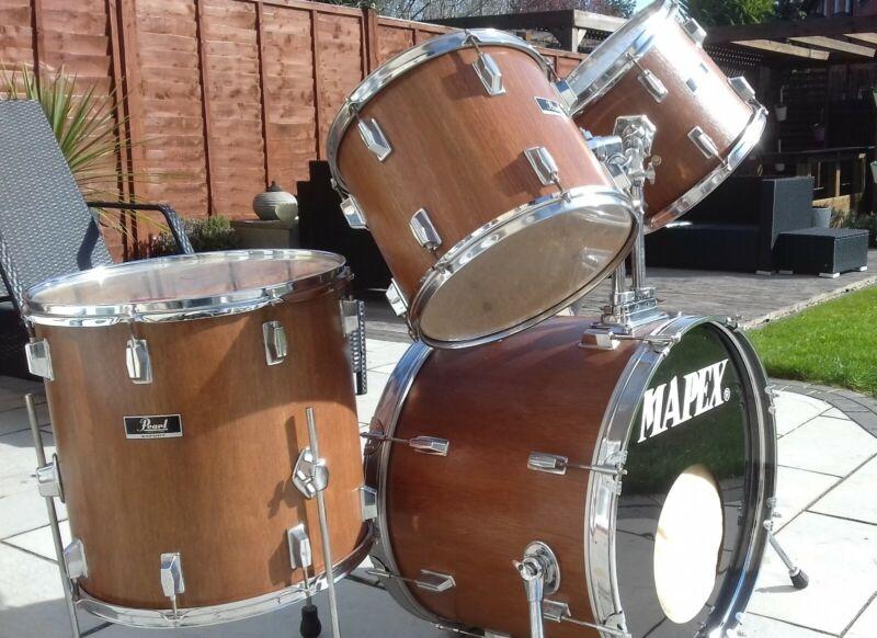 Custom wood stain Pearl Export Series Shell Pack Drum Kit
