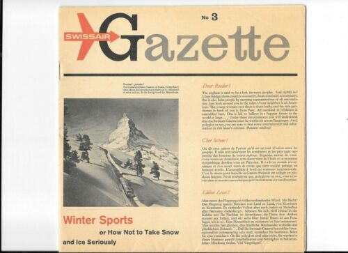 Vintage Brochure SWISSAIR GAZETTE No 3 1958 winter sports multi-language