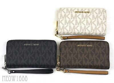 Michael Kors JET SET Brown Vanilla Large Logo PVC Wristlet Clutch Phone Case
