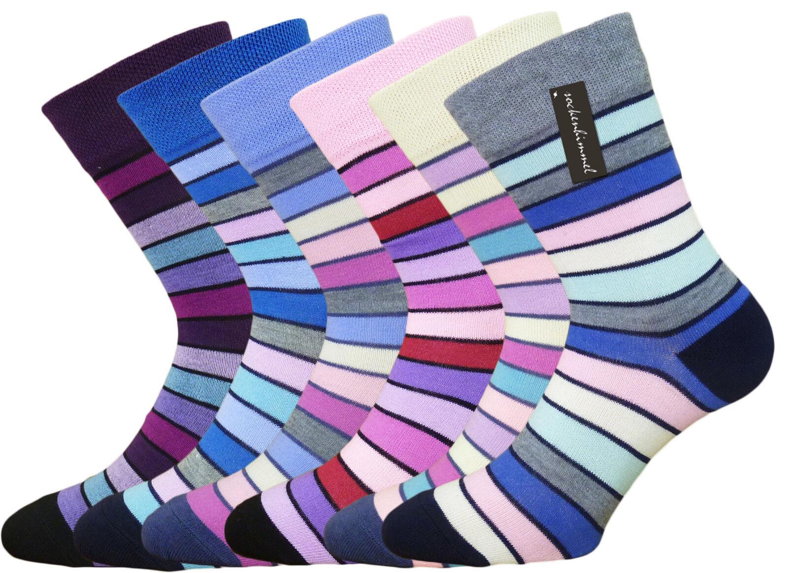 Damen-Socken ohne Gummi - Komfort-Socken - 6er Pack mit bunten Ringel Baumwolle