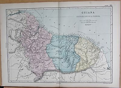 1890 LARGE VICTORIAN MAP - GUIANA, BRITISH, DUTCH AND FRENCH