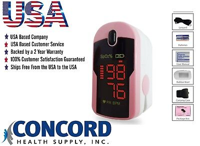 Fingertip Pulse Oximeter With Case Lanyard And Batteries-the Concord Pink