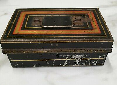antique small tin cash box