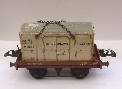 Used, HORNBY O GAUGE FLAT WAGON WITH BR INSULMEAT LOAD GOOD UNBOXED  for sale  United Kingdom