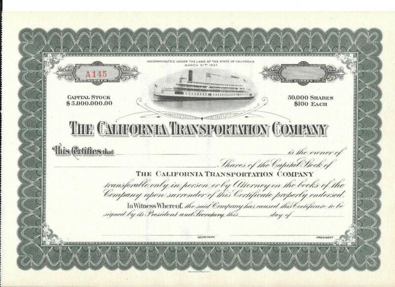 The California Transportation Company Stock Certificate