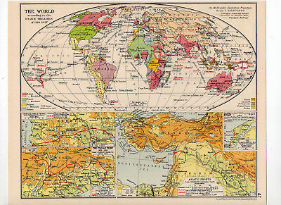 Antique Map Of The World Peace Treaties George Philip & Sons C1931