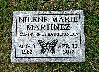 CEMETERY HEADSTONE- Gray- multiple engraving options flat or grass