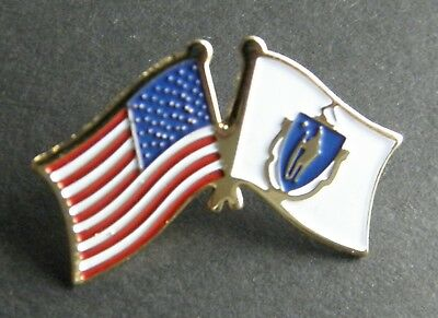 MASSACHUSETTS USA COMBO STATE FLAG LAPEL PIN BADGE 1 INCH