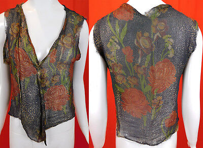 Vintage Art Deco Gold Lame Orange Floral Print Silk Short Bolero Jacket Vest Top