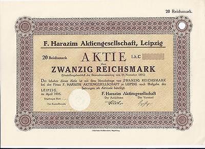 Papierhandel   F. Harazim AG Leipzig 20 RM April 1925, RB nur 10 Stück  RAR