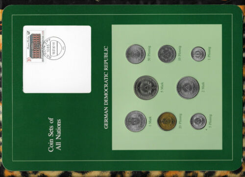 Coin sets of all nations East Germany w/card 1979-1980 UNC 5 Mark KM#29 32,000
