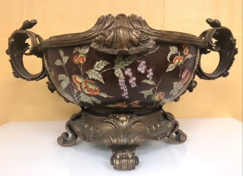 Castilian Porcelain and Brass Pomegranate Decorated Bowl with Handles