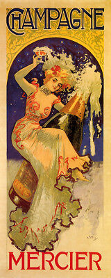 GIRL RIDING BUSTED BOTTLE OF CHAMPAGNE MERCIER FRENCH VINTAGE POSTER REPRO SMALL