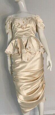 80s Dresses | Casual to Party Dresses Vintage 1980's Ivory Satin Ruched Hem Wedding Dress $77.31 AT vintagedancer.com