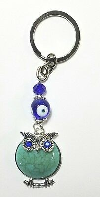 Lucky Owl Key Chain Hanging Ring Feng Shui Evil Eye Protection Aqua Stone (Hanging Ring)