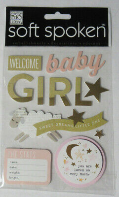 Me & My Big Ideas Soft Spoken WELCOME BABY GIRL sticker embellishments 12 pieces - Baby Girl Scrapbook Ideas