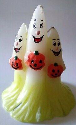 *Vintage* Happy Halloween Ghost Trio Candle Spooky Detailed Pumpkins Wax Cute