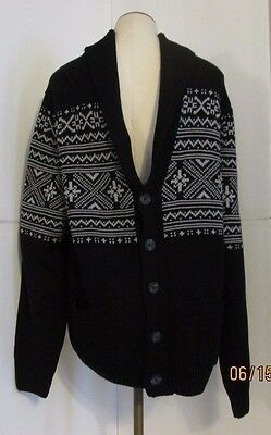 BASIC EDITIONS MENS 3XLT CARDIGAN KNIT SWEATER SHIRT TOP BLACK WHITE  NWT +