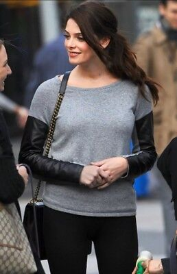 $295 AIKO Kwan Leather Sleeve Cashmere Sweater Gray Aso Celebs and blogs size (Celebs Blog)