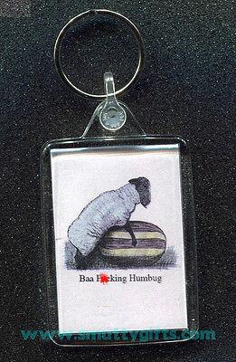 Baa f#cking Humbug ~ KeyRing / Key Ring ~ Adult Novelty Gift / Secret Santa