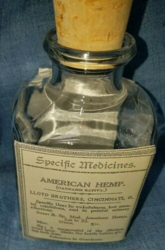 Reproduction American Hemp Clear Glass Medicine Bottle