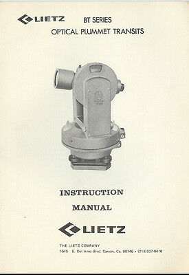 Lietz Optical Plummet Transits Bt Series Instruction Manual