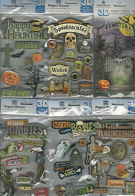 U CHOOSE  Assorted Paper House HALLOWEEN 3D Stickers zombies haunting cemetery