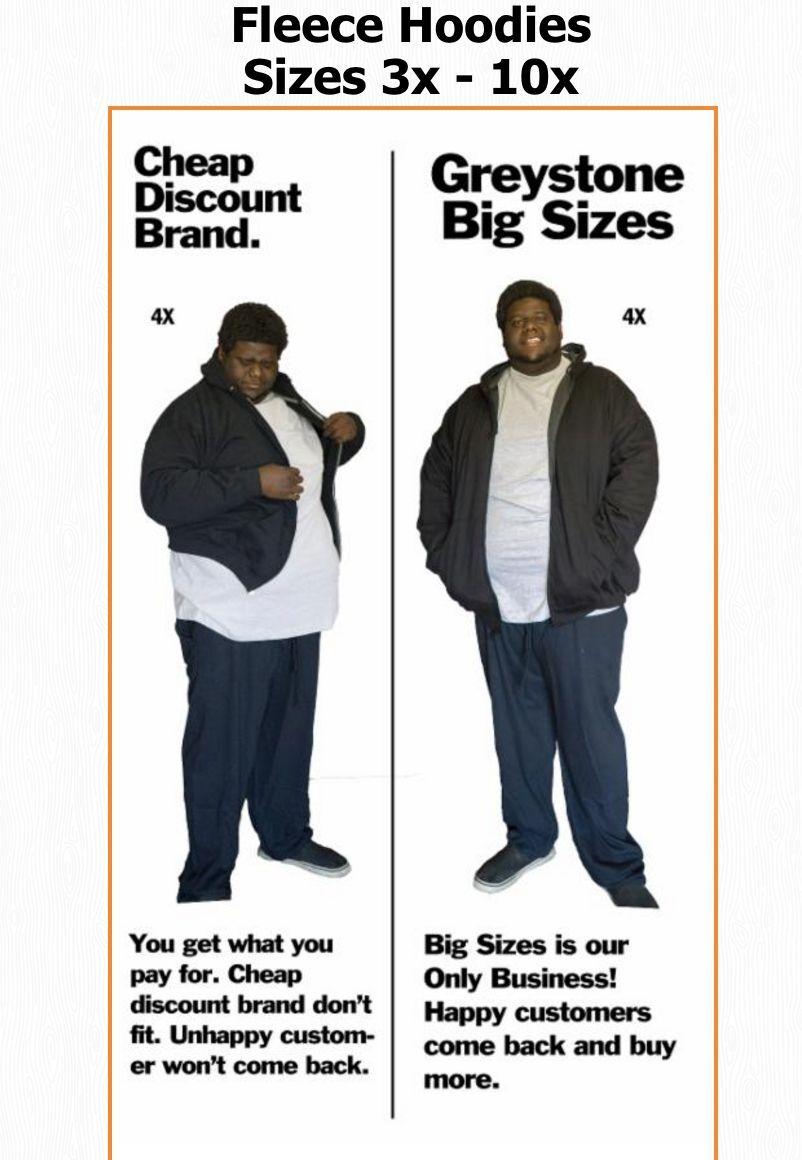 BIG & TALL- BLACK Greystone Fleece Jackets- 2X 3X 4X 5X 6X 7