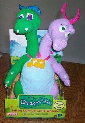 """1999 Playskool Dragon Tales """"Zak & Wheezie"""" Plush Toy In Box...Working..NOS"""