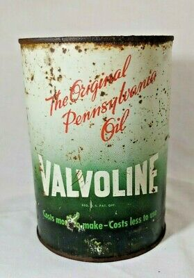 Vintage 35 Cent Valvoline Ohio Metal Oil Can Quart