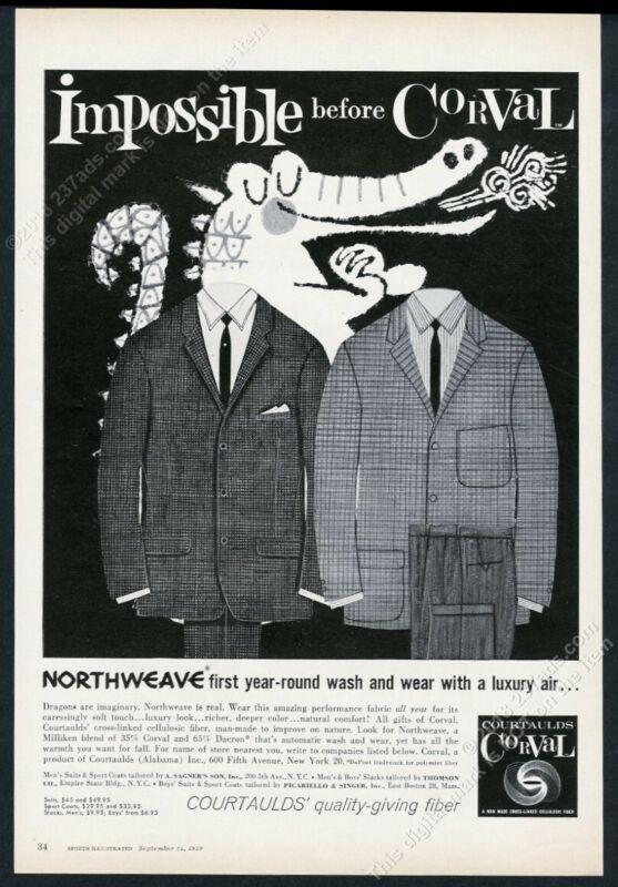 1959 happy dragon cartoon art Courtaulds men