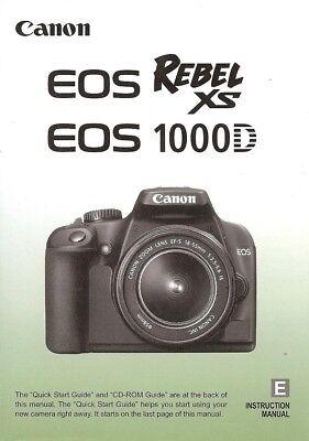 Canon EOS Rebel XS 1000D Digital SLR Kamera Owners Bedienungsanleitung -dslr 1000 Digitale Slr-kamera